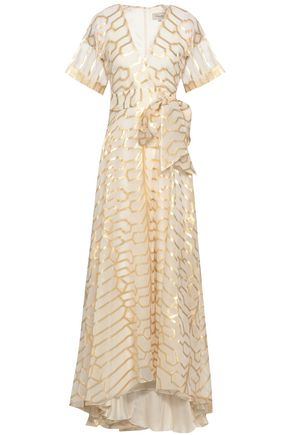 TEMPERLEY LONDON Metallic fil coupé silk-blend maxi dress