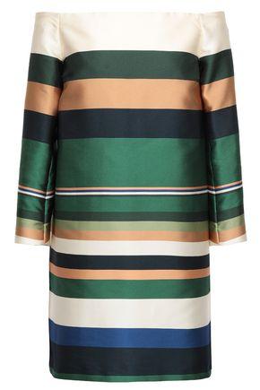ROSETTA GETTY Off-the-shoulder striped twill mini dress