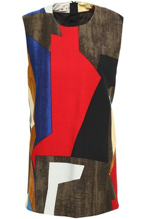MARNI Patchwork-effect wool-blend twill top