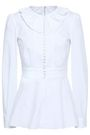 DOLCE & GABBANA Button-detailed cotton-blend poplin peplum shirt