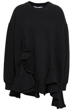 GIVENCHY Oversized ruffled cotton-fleece sweatshirt