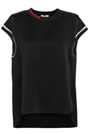 FENDI Tulle-trimmed satin top