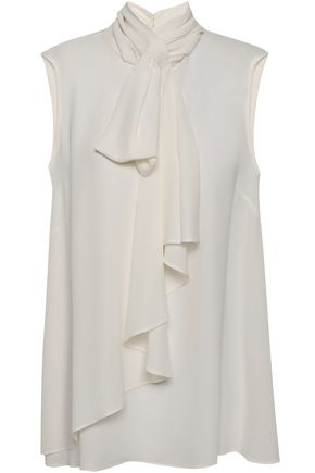 ALEXANDER MCQUEEN Pussy-bow ruffled silk-crepe blouse