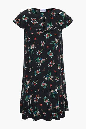 REDValentino Floral-print silk-crepe mini dress