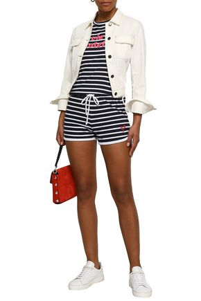 SUNDRY Embroidered striped cotton-jersey shorts