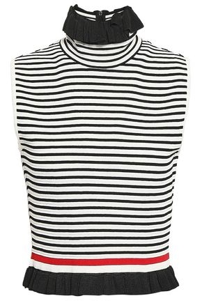 MSGM Ruffle-trimmed striped cotton-blend turtleneck top