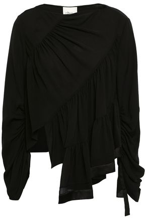 3.1 PHILLIP LIM Asymmetric satin-trimmed silk crepe de chine top