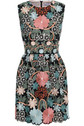 REDValentino Scalloped embroidered crepe mini dress