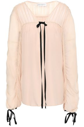 AMANDA WAKELEY Tie-detailed ruched silk crepe de chine and georgette blouse