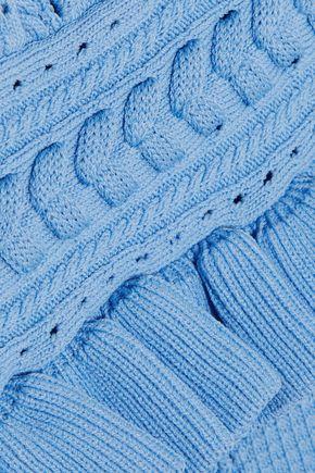 REBECCA VALLANCE Majorca ruffled pointelle-knit dress
