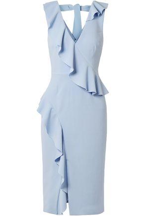 REBECCA VALLANCE | Rebecca Vallance Sylvette Ruffle-trimmed Crepe Dress | Goxip