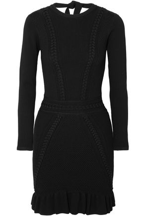 REBECCA VALLANCE Majorca pointelle-knit mini dress