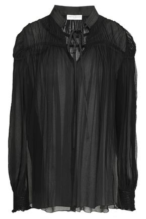 AMANDA WAKELEY Ruched silk-georgette blouse