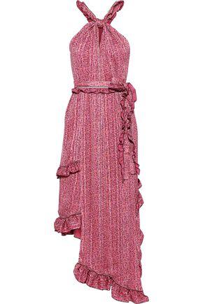 DEREK LAM 10 CROSBY Asymmetric knotted printed crepe de chine midi dress