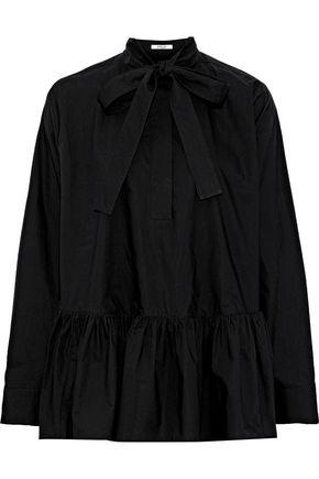 DEREK LAM 10 CROSBY Pussy-bow ruffled cotton-poplin shirt