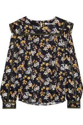 DEREK LAM 10 CROSBY Floral-print burnout silk-blend blouse