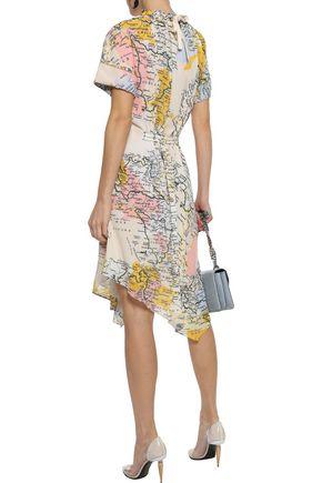 DEREK LAM 10 CROSBY Asymmetric gathered printed georgette dress