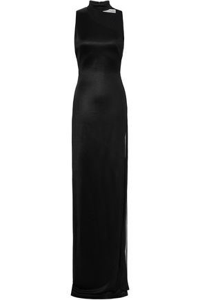 GALVAN  London Mesh-paneled stretch-knit gown