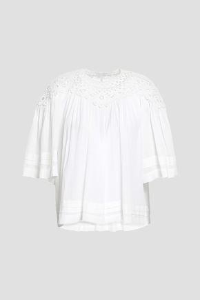 ISABEL MARANT ÉTOILE | Isabel Marant Étoile Crochet-Trimmed Cotton-Gauze Blouse | Goxip