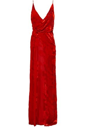 GALVAN  London Gathered devoré-velvet gown