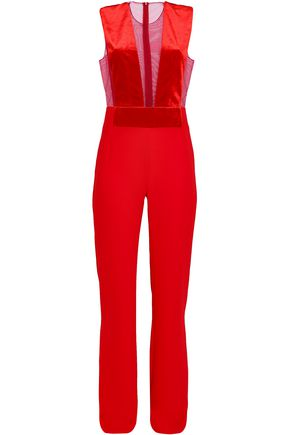 GALVAN  London Tulle-paneled velvet and crepe jumpsuit