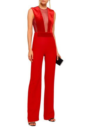 GALVAN  London Tulle-paneled crepe and velvet jumpsuit