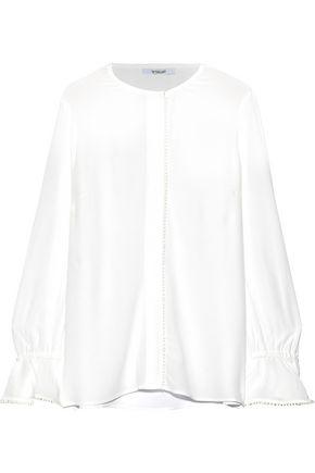 DEREK LAM 10 CROSBY Bow-detailed crepe de chine blouse