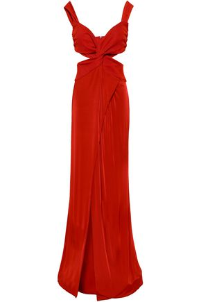 GALVAN  London Wrap-effect cutout jersey gown