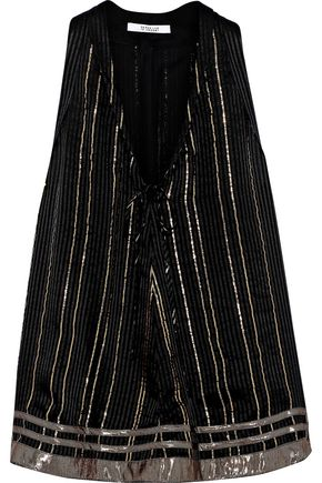 DEREK LAM 10 CROSBY Tie-front metallic striped silk-blend top