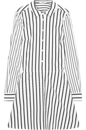 DEREK LAM 10 CROSBY Striped cotton-poplin mini shirt dress