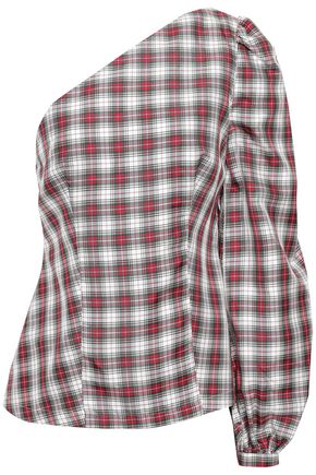 RACIL One-shoulder checked silk top