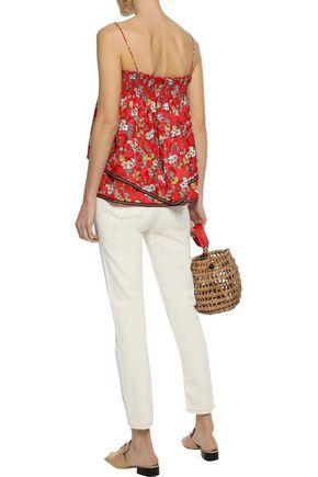 DEREK LAM 10 CROSBY Layered smocked floral-print silk-blend jacquard top
