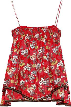 DEREK LAM 10 CROSBY Layered smocked floral-print silk-blend jacquard top