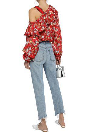 DEREK LAM 10 CROSBY Cold-shoulder floral-print burnout silk-blend blouse