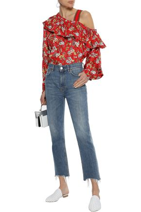 DEREK LAM 10 CROSBY Cold-shoulder floral-print burnout silk-blend blouse