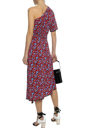 DEREK LAM 10 CROSBY One-shoulder floral-print jersey midi dress