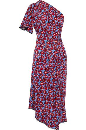 DEREK LAM 10 CROSBY One-shoulder floral-print jersey midi dress
