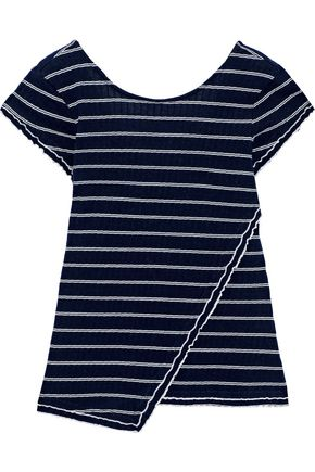 DEREK LAM 10 CROSBY Asymmetric striped ribbed cotton T-shirt