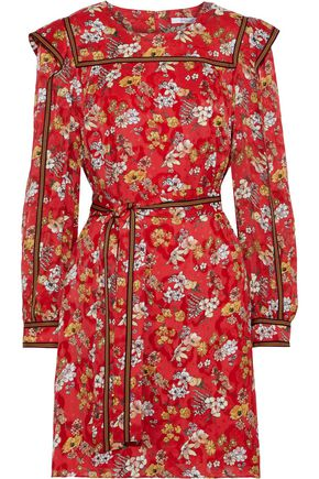 DEREK LAM 10 CROSBY Belted floral-print burnout silk-blend mini dress