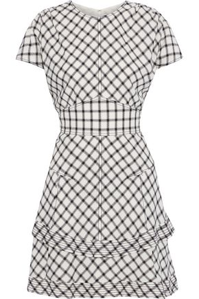 DEREK LAM 10 CROSBY Tiered checked crepe mini dress
