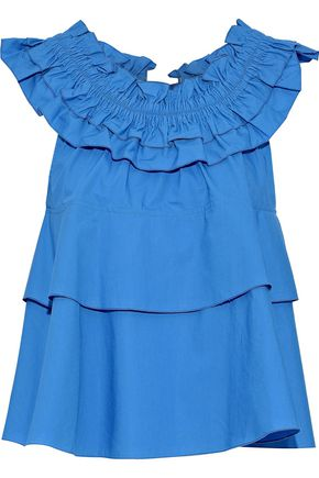 DEREK LAM 10 CROSBY Tiered ruffled cotton-poplin top