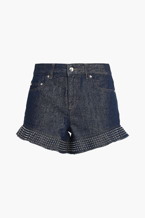REDValentino Ruffle-trimmed studded denim shorts