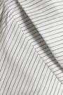ISA ARFEN Off-the-shoulder striped cotton, silk and linen-blend shirt