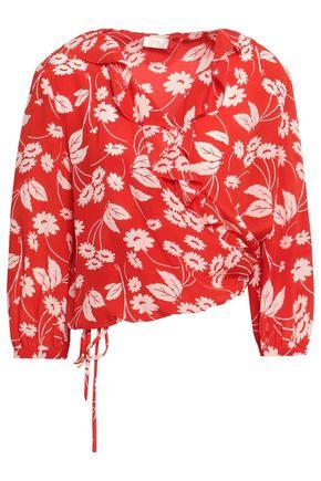 RIXO London Printed silk crepe de chine wrap blouse