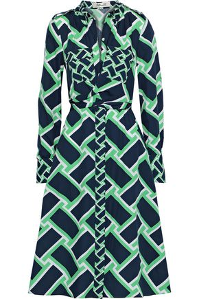 DIANE VON FURSTENBERG Jeri twist-front printed cotton shirt dress