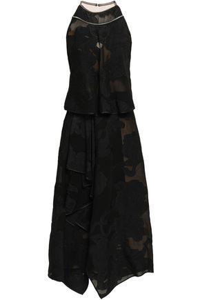 AMANDA WAKELEY Asymmetric tulle-paneled fil coupé midi dress