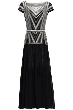 AMANDA WAKELEY Metallic embossed mesh maxi dress