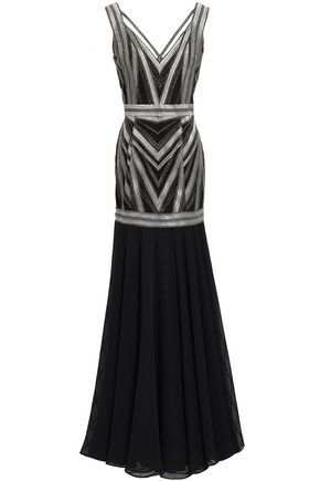 AMANDA WAKELEY Metallic embroidered tulle and georgette gown