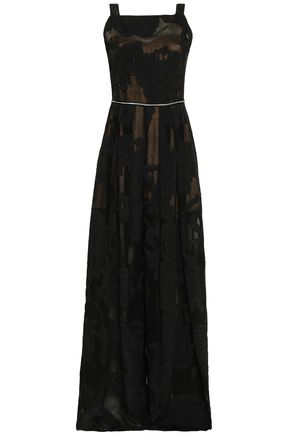 AMANDA WAKELEY Metallic-trimmed pleated fil coupé gown