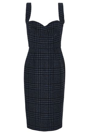VICTORIA BECKHAM Paneled Prince of Wales checked wool and ponte midi dress